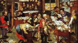 """Pieter Brueghel el Joven:  """"Pagar el impuesto (El recaudador de impuestos) """" óleo sobre tabla , 1620-1640."""