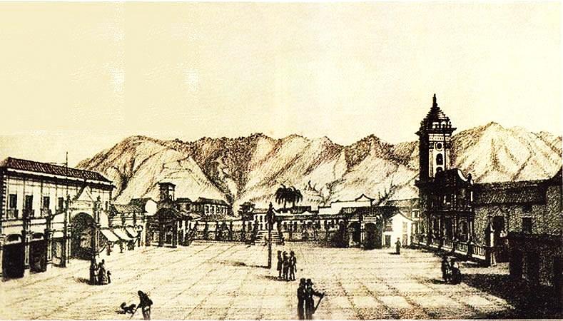 Un grabado de la plaza mayor hacia 1840 aproximadamente. Autor no identificado